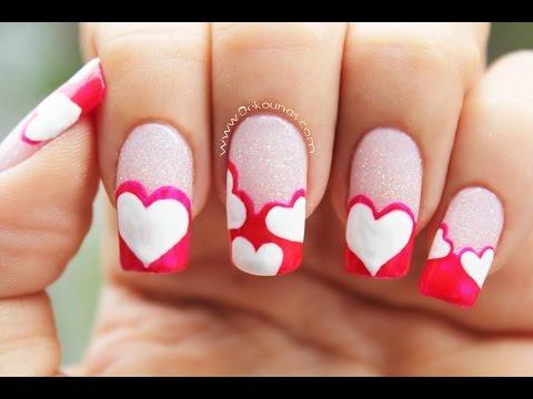 Decoración de uñas de Corazones - Heart nail art