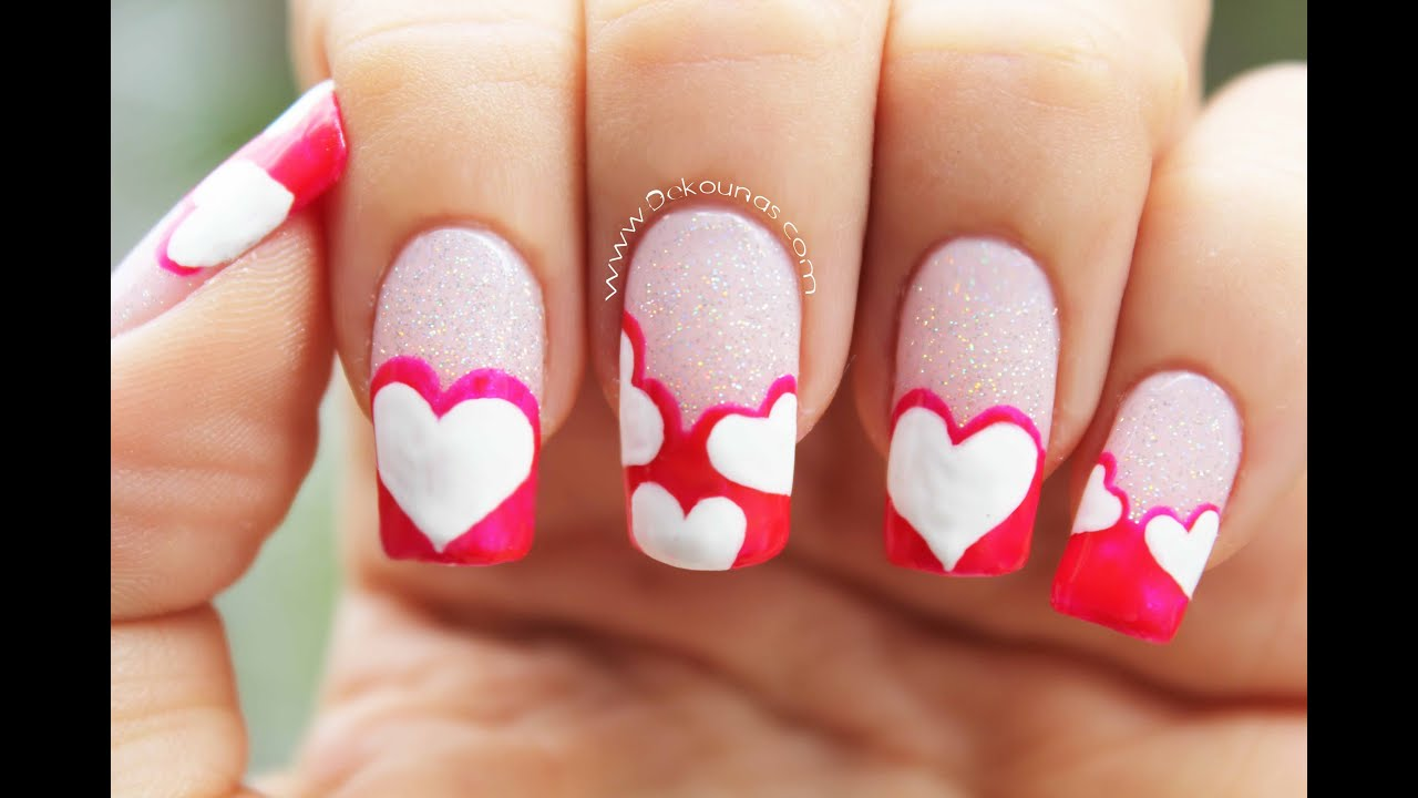 Decoraci n de u as de corazones heart nail art youtube for Buscar decoraciones