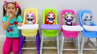 Sofia plays beauty salon with toys