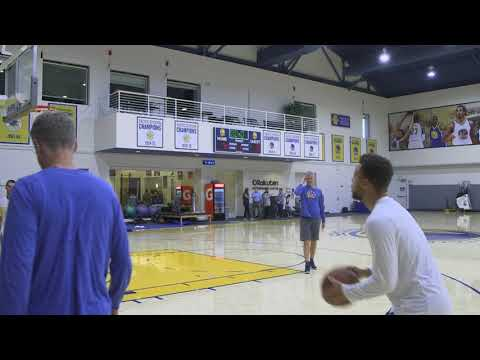 Steph Curry puts up shots after practice on recovering ankle