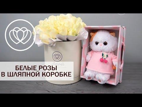 Букет из 35 белых роз в шляпной коробке  (Россия)