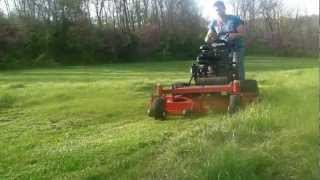 Commercial exmark walkbehind lawn mower cuts THICK green grass...HD