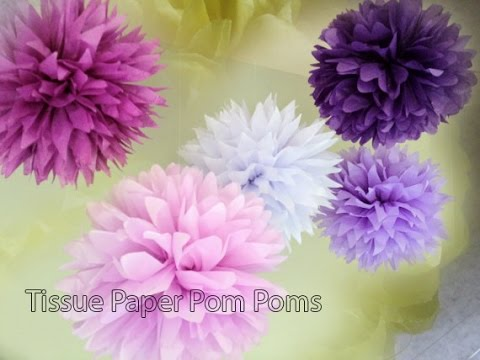 How to make pom poms with tissue paper youtube how to make pom poms with tissue paper solutioingenieria Images
