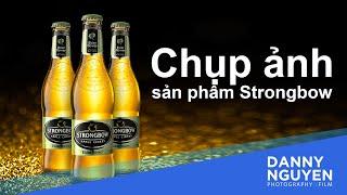 Chụp ảnh sản phẩm chai Strongbow Cider (nước trái cây lên men) chỉ với 2 đèn