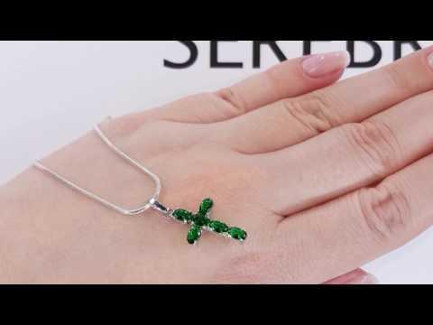 Крест серебряный с изумрудами нано КР271НИ