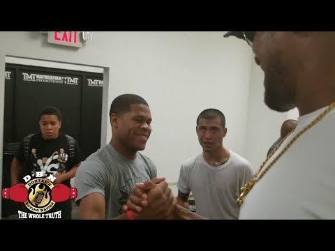 Anthony Joshua larger than life as he invades The Mayweather Gym