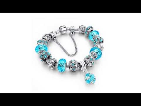Kainoosh Pandora Style Silver Plated Authentic Blue Crystal Charm Bracelet