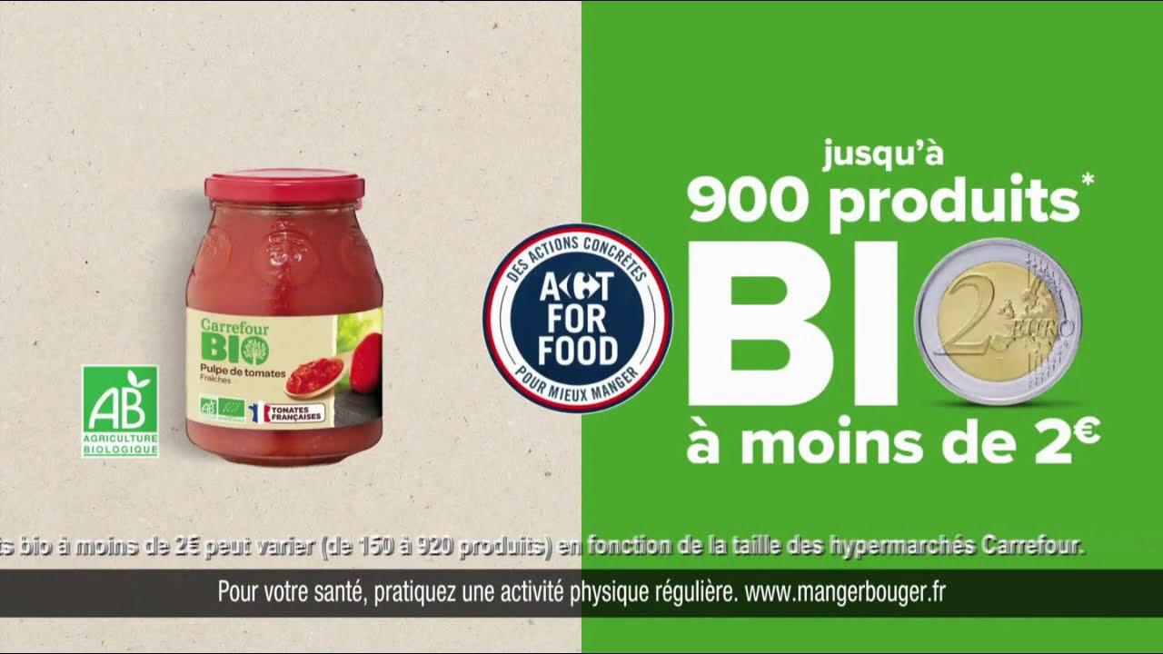 """Musique de la pub Carrefour """"jusqu'à 900 produits bio à moins de 2€""""  Mai 2021"""