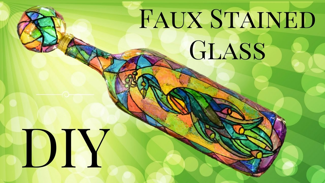 Faux Stained Glass Wine Bottle DIY Using Food Coloring ...