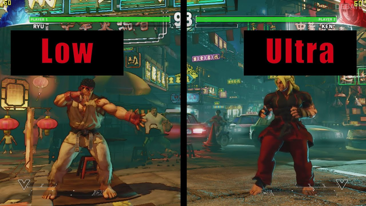 street fighter v ultra vs low pc graphics comparison youtube