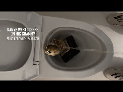 Kanye West throws Grammy in toilet and Tweets entire record contract. | BABA