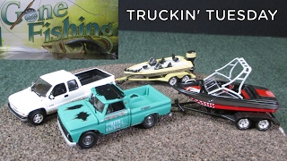 Truckin' Tuesday Gone Fishing 3 piece sets with boats and trailers by Johnny Lightning