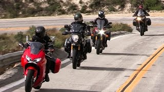 Honda Interceptor vs Kawasaki Versys 1000LT vs Suzuki V Strom 1000 Adventure vs Yamaha FJ-09 thumbnail