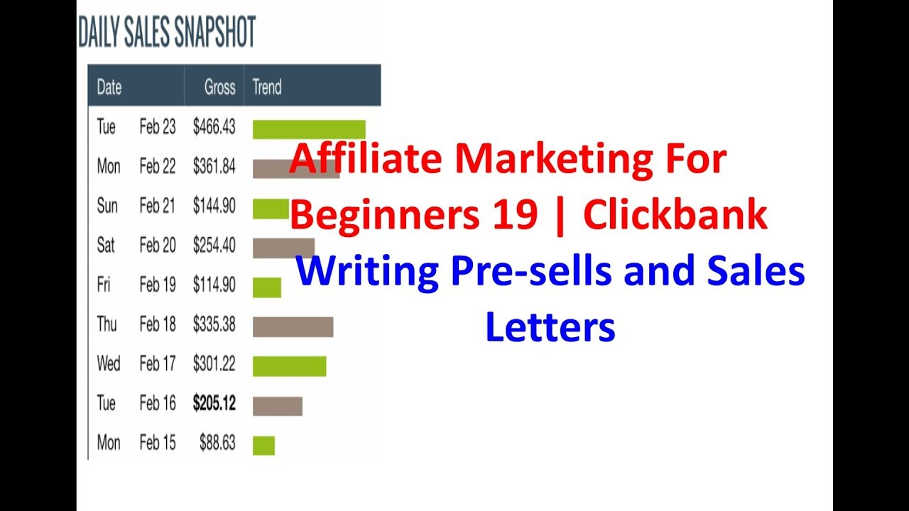Affiliate Marketing For Beginners 19 Clickbank Writing Pre Sells