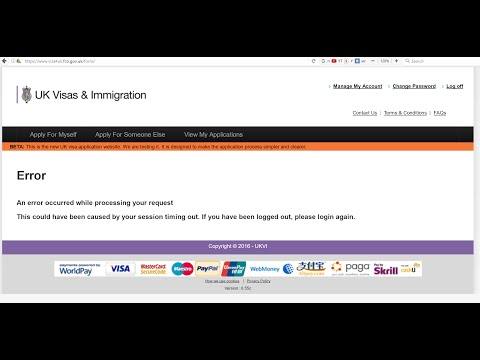UK Visa An error occurred while processing your request - FIX