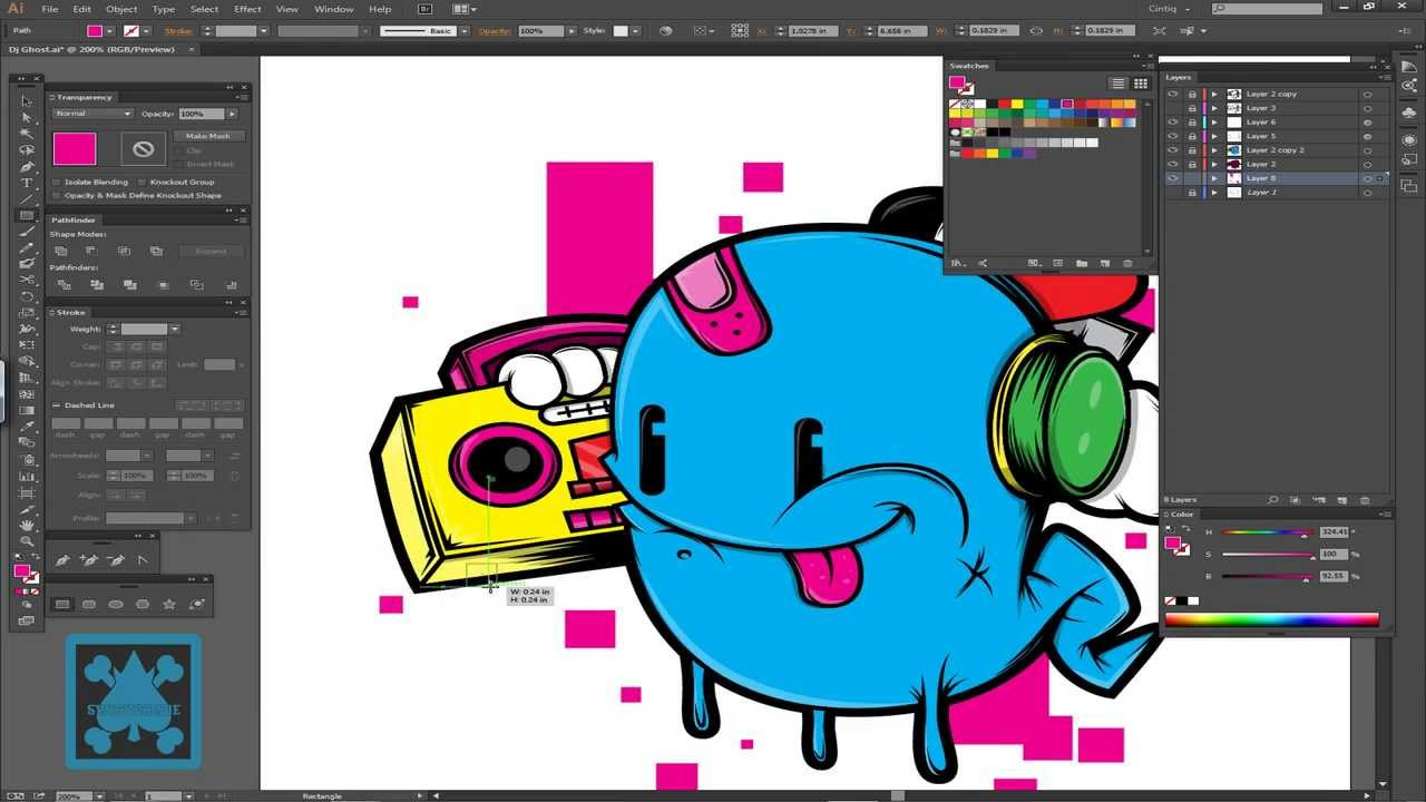 Adobe Illustrator Essentials For Character Design : Speed art ghostly dj character design in adobe