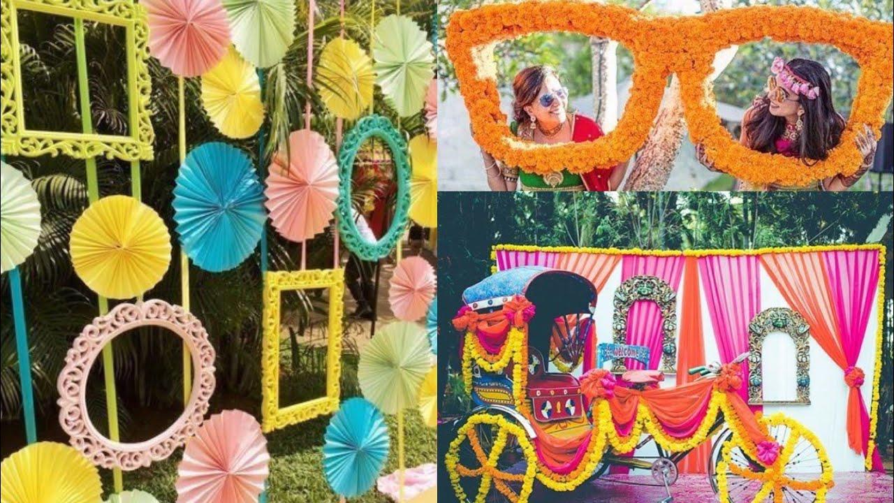 New wedding, engagement, Sangeet, mehendi decoration ideas/photobooth props  ideas for wedding