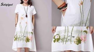 Saiqigui Summer Women Dress Review | Plus Size Short Sleeve White Casual Cotton Linen Dress