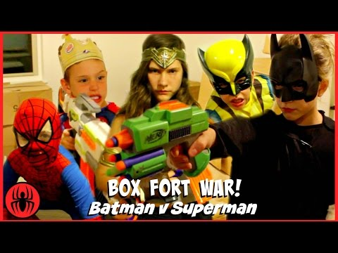 Thumbnail: BOX FORT WAR! Nerf War Batman v Superman w Kid Deadpool Spiderman SuperHero Kids real life movie