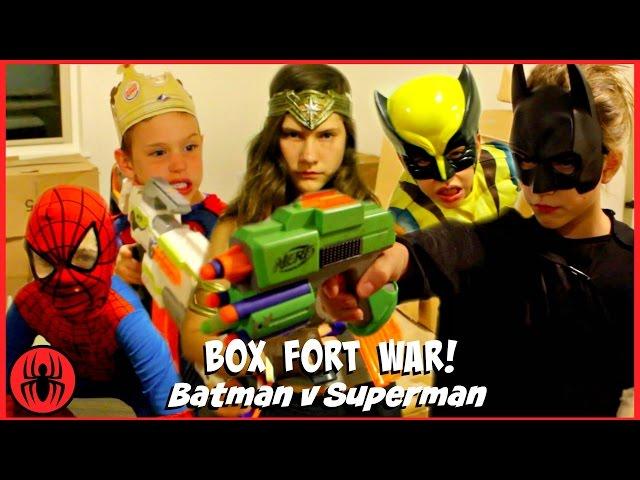BOX FORT WAR! Nerf War Batman v Superman w Kid Deadpool ...