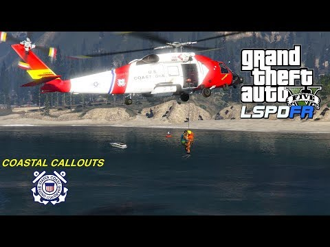 GTA V   LSPDFR 0 4 6   Coastal Callouts USCG Helicopter Rescue