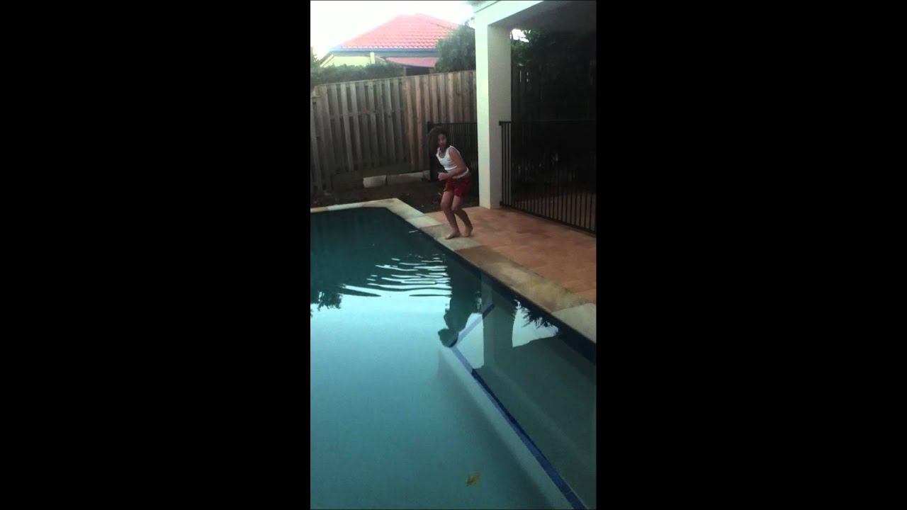 Pushed in the pool - YouTube