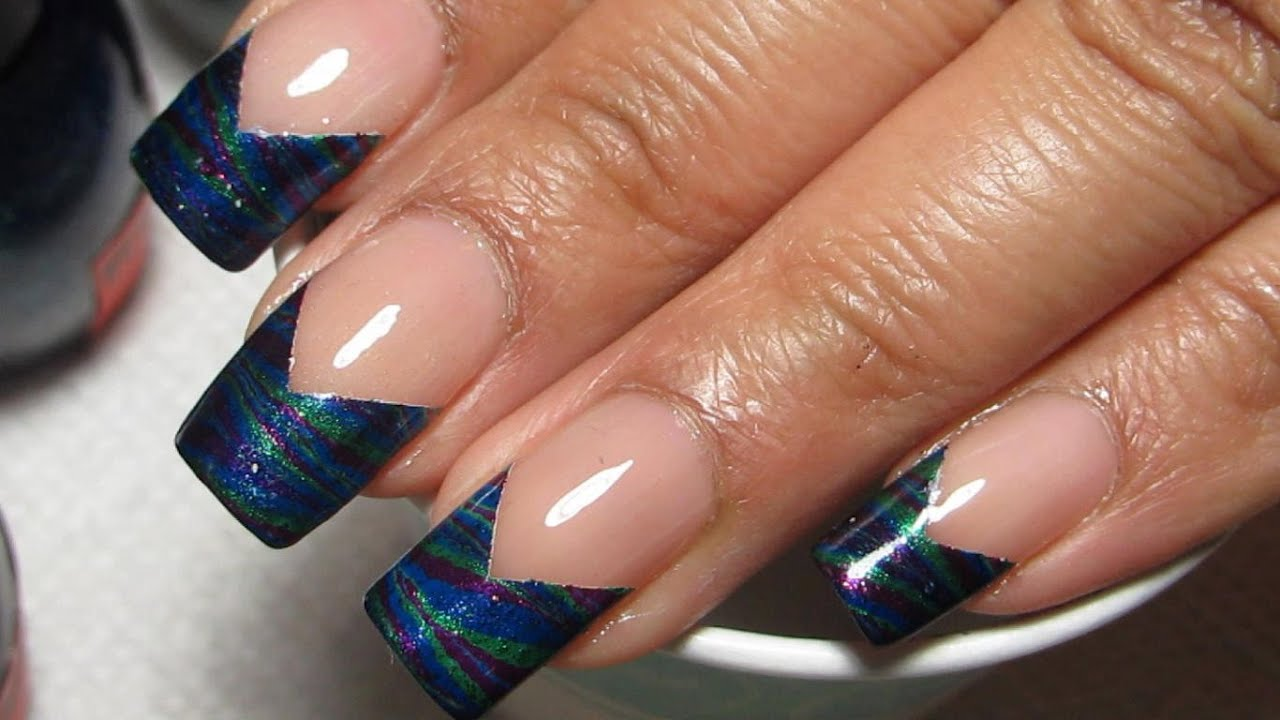 Chevron French Tip Water Marble Nail Art Tutorial (Water Marble March 2015 #5)
