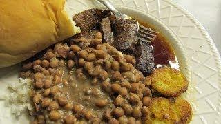 Gravy Steak, Rice, Peas, Fried Green Tomatoes
