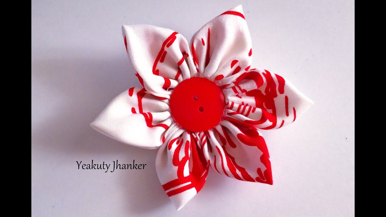 Diy How To Make A Kanzashi Fabric Flower Hair Clip Youtube