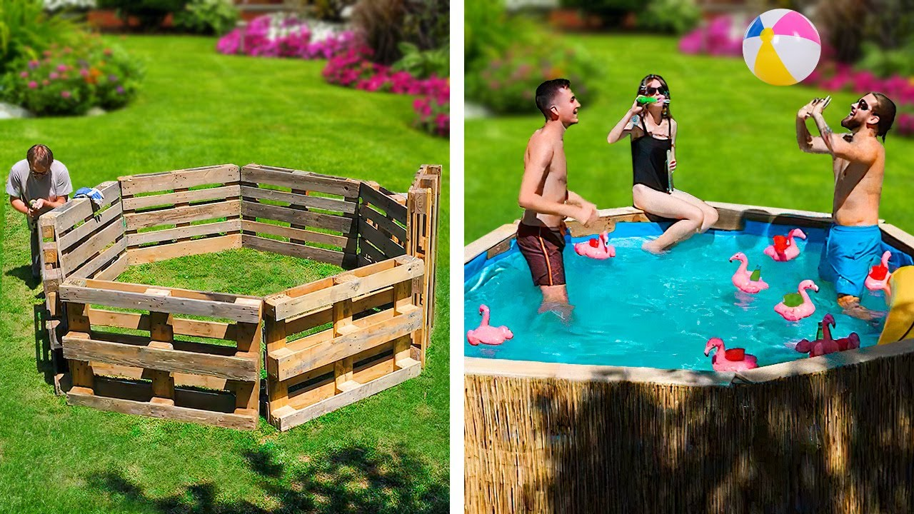 DIY BACKYARD PARTY AREA WITH POOL || Jaw-Dropping Backyard And Bushcraft Crafts That Will Amaze You