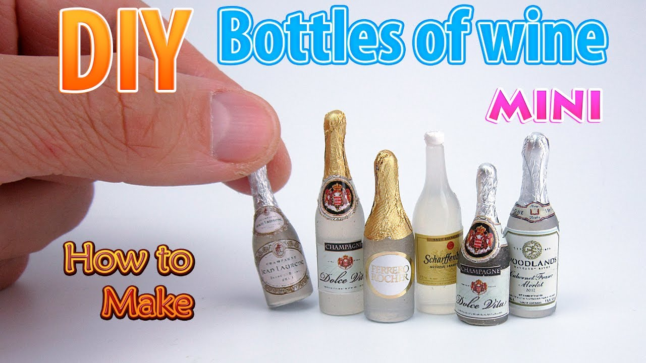 Diy Miniature Wine Bottles Dollhouse Food Accessories And Toys