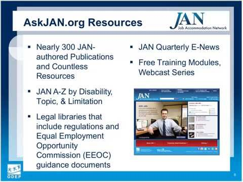 Managing Disability in the Workplace & Using JAN