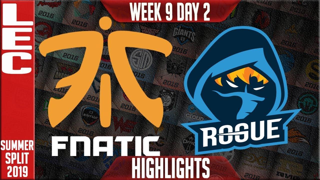FNC vs RGE Highlights | LEC Summer 2019 Week 9 Day 2 | Fnatic vs Rogue