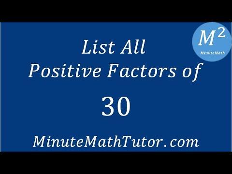 List All Positive Factors of 30