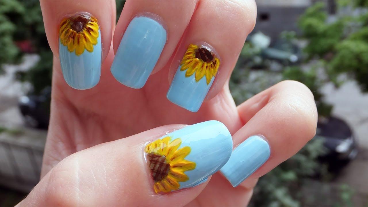 Sunflower Nail Art Tutorial - YouTube