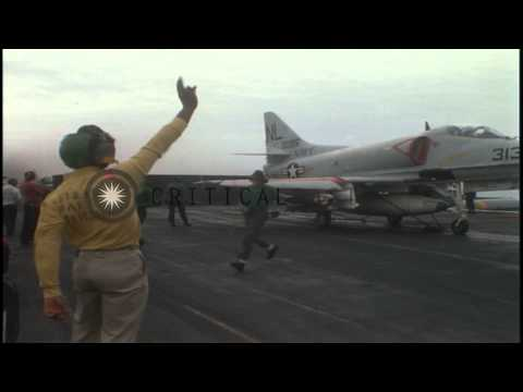 US Aircraft take off from USS  Coral Sea in South China Sea. HD Stock Footage