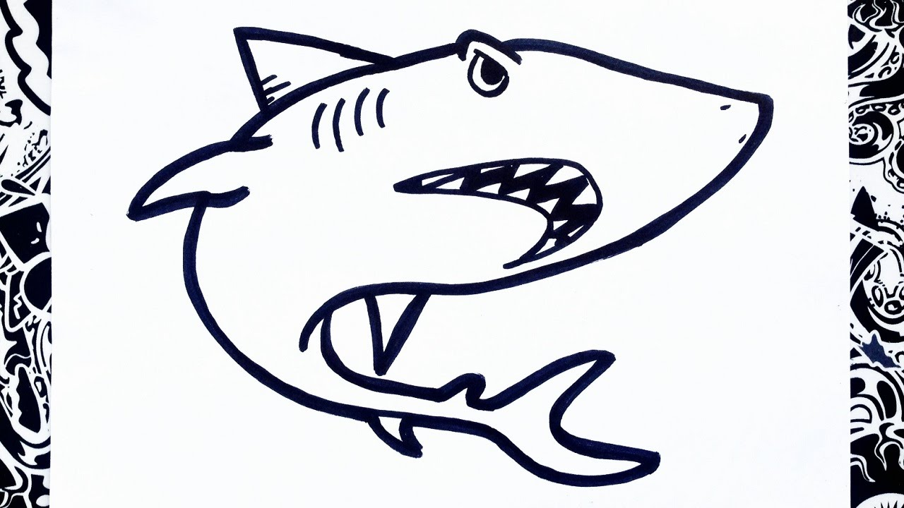 Como dibujar un tibur n how to draw shark step by step for Sala facil de dibujar