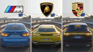 SUV BATTLE ! BMW X6M vs Lamborghini Urus vs Porsche Cayenne Turbo | Forza Motorsport 7