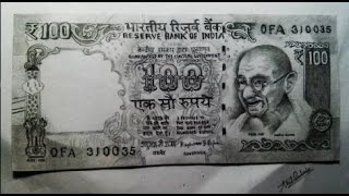 Drawing 100 Rupees Indian currency note (speed drawing)