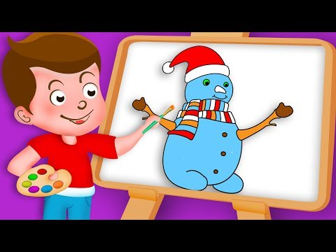 Drawing Christmas Snowman Paint And Colouring For Kids | Kids Drawing TV