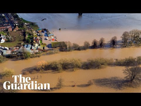 Storm Dennis: aerial footage shows scale of flooding in Hereford