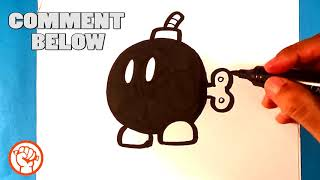 How to Draw Suṗer Mario Bros - Bob-omb - Easy Pictures to Draw