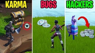 Loot V-Bucks in Battle Royale?! KARMA vs BUGS vs HACKERS - Fortnite Funny Moments