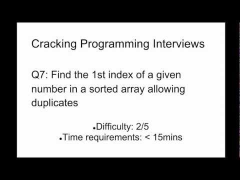 Programming Interview 7: Find the 1st index of a given number in a sorted array allowing duplicates