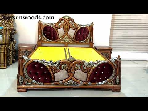 #129 Royal Double Bed with Storage and Side Tables | Wooden Handicrafts & Furniture design by Aarsun