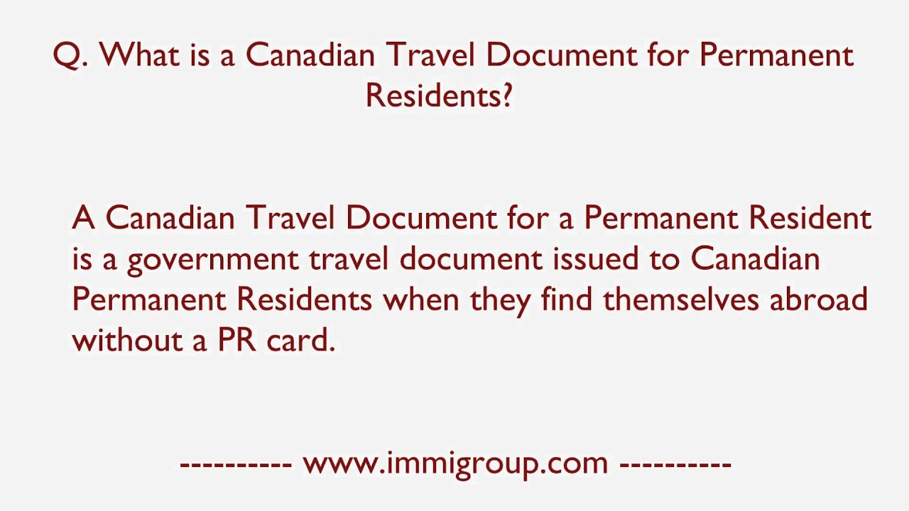 canadian permanent resident travel document