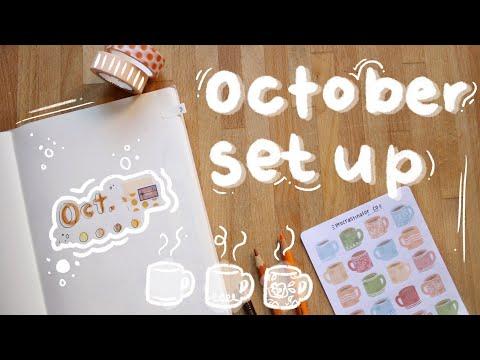 october 2019 bullet journal set up — cozy orange tea aesthetic