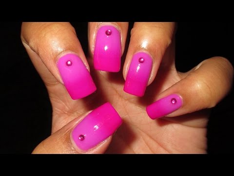 Ingrid Nilsen MTV VMA Inspired Radiant Orchid Gradient with Rhinestone Accent Nail Art Tutorial thumbnail
