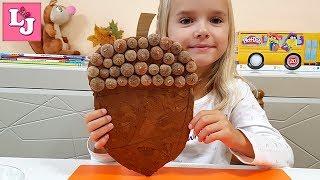 АППЛИКАЦИЯ из осенних листьев ЖЕЛУДЬ Осенние поделки с детьми Поделки из листьев DIY