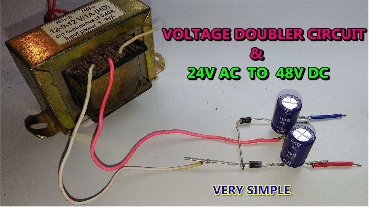simple ac to dc converter with voltage doubler circuit using diode capacitor v in 2 v out  [ 1280 x 720 Pixel ]